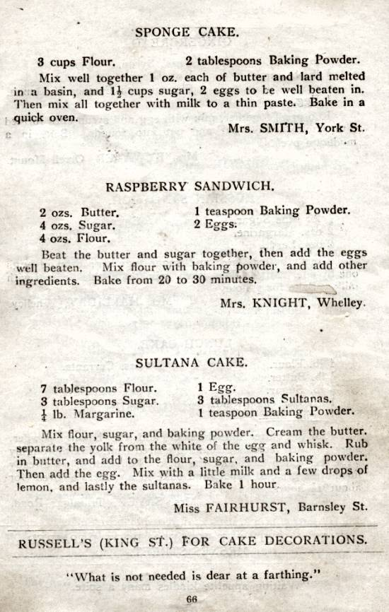 The Wigan Recipe Book, 1925