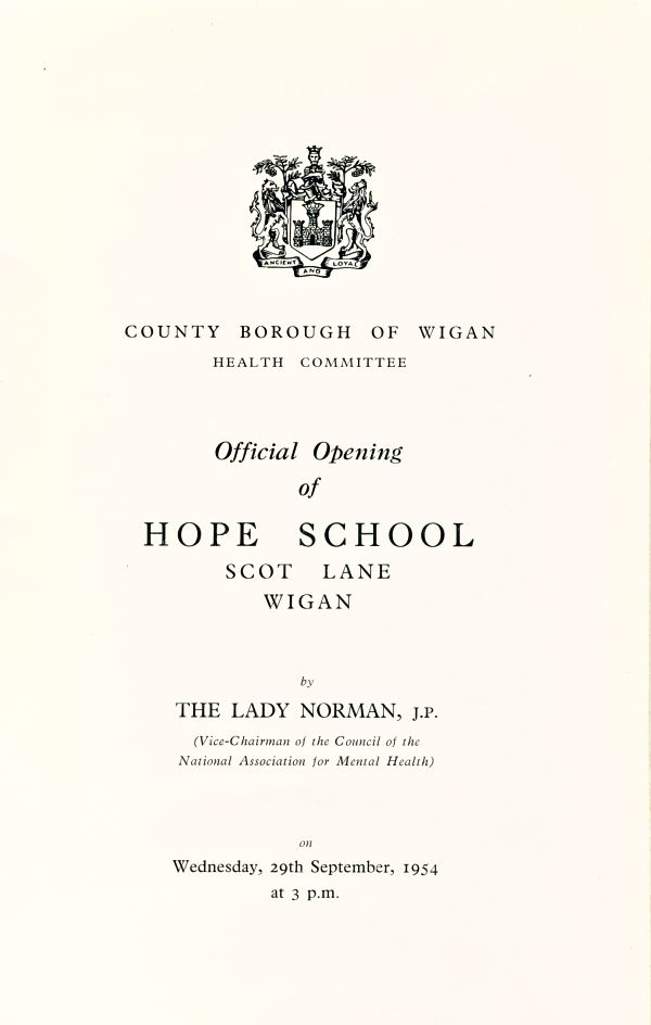Hope School, Official Opening