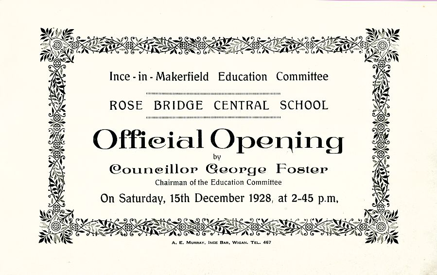Rose Bridge Central School, Official Opening