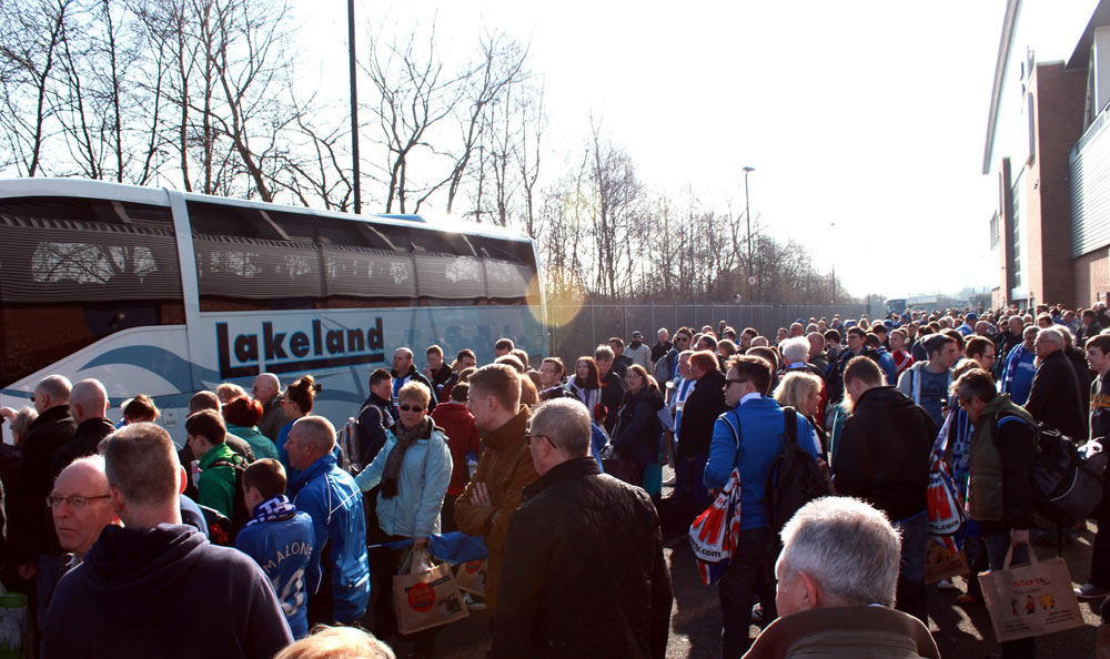 Latics fans before setting off to Wembley