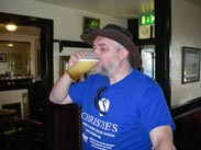 JB enjoys a pint