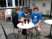 Thomas and Jordan enjoying a drink at the Farmers Arms