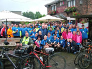 Group shot at Heaton Bridge, 82 riders!