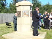 Side view of the memorial after the unveiling