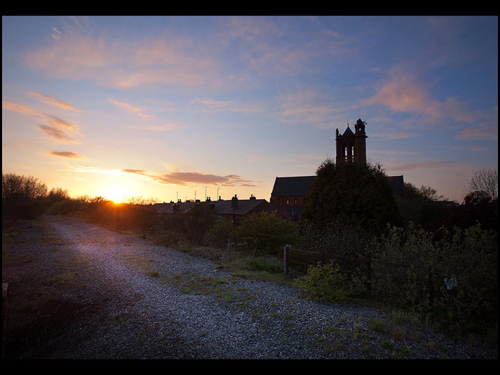 Sunset over St Nathaniels, Platt Bridge