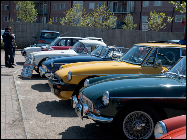 Display of classic MG cars