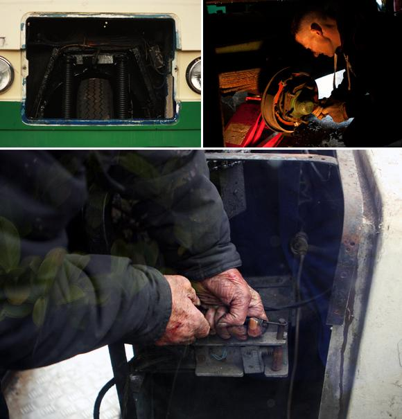 Mechanic Neil McGuire at work (top right corner). The hands below belong to the dairy owner Horace W. Kay. Neil has learnt to repair a milk float from Mr. Kay. 2012