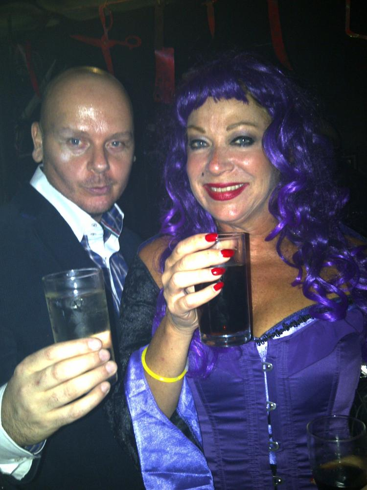 Mark Edward partying with Denise Welch