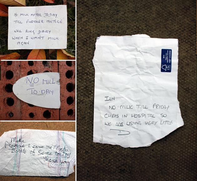 Communication: Notes for Milkmen from their customers / 2012